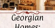 Georgian Homes: Kitchen & Servant / Kitchen, stillroom, larders, scullery, laundry, dairy, butler's pantry, and other service rooms. Also servant quarters.   Examples have a Georgian aesthetic and *mostly* period-correct fixtures.
