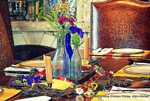 Bohemian Inspired TableSettings--Ally's Kitchen / A Boho tablesetting is all about anything that YOU think is pretty, goes together, & makes you happy!  Go for it...break away from the conventional!  Be Boho!