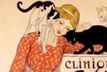 illustrations girls and cats