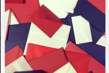 Stars and Stripes! / The 3 most beautiful colors; Red White and Blue in various styles and shapes of envelopes, paper and cardstock! Happy 4th of July Everyone!