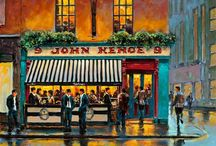 ART - Dublin Pubs by Chris McMorrow / Dublin Pubs: Paintings and prints by artist Chris McMorrow   - Kehoes, Grogans, O'Donoghue's, Doheny and Nesbitt, The Stag's Head, The Temple Bar, Bruxelles