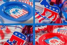 Party Ideas - Election / Get ready for a winning campaign with political rally decorations. They're perfect for the rallies you're holding around your district, fundraising events, and your election night celebration. Keep plenty of election party favors on hand to give out at your rallies, in parades, to your volunteers, and family and friends, Shindigz also offers large-format items for larger stage set-ups and political rallies. / by Shindigz Party Supplies