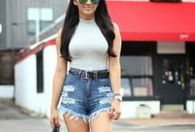 She Got that Style--Denim Shorts / How to style/what to wear with denim shorts / by Robin Martin (Frannie Pantz)