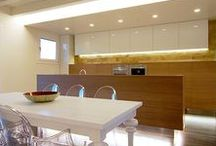 Private house Kitchen / Oak and lacquered mdf kitchen, corian top.