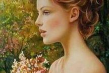 Woman & Flowers in Art