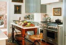 Kitchens / kitchen decorating ideas, vintage kitchens, kitchen tile ideas, eclectic kitchens, kitchen remodel ideas, pretty kitchens, cozy kitchens