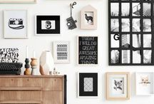 Mur de cadres / Accumuler les cadres de différente taille et de différent matériaux est très tendance en déco intérieure. Cette planche rassemble ce qui se fait de mieux en terme de murs de cadres.