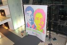 Google: Larry Page & Sergey Brin Portrait (2012) / Happy Birthday Portrait by Post it Art Creators, post-its on paper, 6 colors, 5m x 6,10 m  http://www.postitartcreators.com/post/32910284262/google / by Post it ART CREATORS