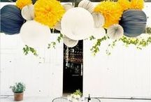 Decorate With Tissue Flower Pom Poms / We love this new trend in wedding and party decorating! So many creative uses! Create a colorful backdrop, hanging centerpieces or to accent dessert display tables. / by Jaclyn Peters Designs