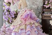Color Wedding Gowns / A Collection of Wedding Dresses Featuring Colors And Prints.