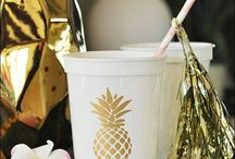 Tropical Parties / Flamingo, Pineapple or Tropical Theme Event Inspiration From Invites To Favors