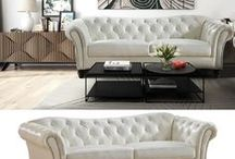 Jane Leather / Leather livingroom collections in ivory, brown, dark brown, or black in styles from modern to traditional. #leather #furniture #sofa #loveseat #armchair #livingroom #set #chesterfield #modern #transitional #style #homedecor #interiors #interiordesign