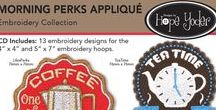 """Morning Perks / CD Includes: Retro coffee and tea machine embroidery designs for the 4"""" x 4"""" and 5"""" x 7"""" embroidery hoops. The designs are perfect to use with mug rugs. Ten of the designs are appliqués which include the appliqué fabric cut files to use with your digital cutter. This collection includes the original SVG artwork so you can get cleaver and crafty with your digital cutter. http://www.hopeyoder.com/shop/c/p/Morning-Perks-Appliqu-Embroidery-Collection-x24153638.htm"""