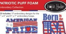 """Patriotic Puff Foam / CD Includes: 17 machine embroidery designs for the 4"""" x 4"""" and 5"""" x 7"""" embroidery hoops. This collection includes six puff foam designs, 10 filled designs and one appliqué design which includes the appliqué cut file to use with your digital cutter. This collection includes the original SVG artwork so you can get clever and crafty with your digital cutter."""
