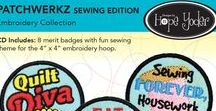 """Patchwerkz / CD Includes: 8 merit badges with fun sewing theme for the 4"""" x 4"""" embroidery hoop. Embroider on felt, iron permanent webbing to the back and melt away the excess felt. Step-by-step color directions inside. Use the SVG artwork files and your digital cutter to make other crafty projects.  Formats Included: ART, DST, EXP, HUS, JEF, PES, VIP, VP3, XXX and SVG artwork and digital die cutting appliqué files."""