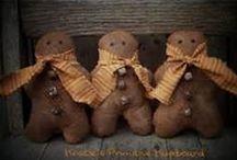 """Primitive gingerbread man' / Me  recuerdan a mi niñez, por el cuento  infantil """"El niño de pan de gengibre', uno de mis  favoritos!. Tambien  cuando  los vemos pensamos en  Navidad!  Cuando  los realizan   primitivos en  su aspecto  tienen   su encanto rustico!"""