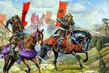 Samurai, Chinese warriors, Mongols, India