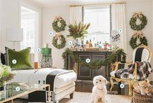 Black, white, neutral, gold, and emerald green living room / by Meg Opel