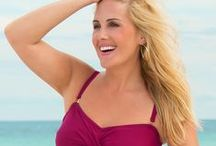 Underwire Swimsuits / Look for swimsuit details like these that offer extra shape and support , high armpits, comfortable necklines,  wide bands under the breast and straps also offer extra support bust support.
