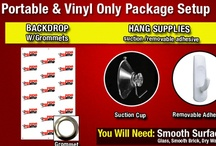 Step and Repeart Portable Packages / RCR's Portable packages come with grommets and hanging hooks, and can be hung on any flat surface. Easy set-up, easy removal!