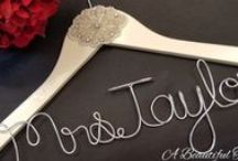 Handmade Bridal Hangers / Our handmade collection of wood and fabric Bridal hangers that are personalized with the Bride's future last name, a special title or phrase.