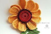 вязаные крючком цветы, бабочки