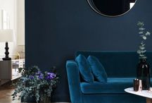 Moody colour choices / Rooms that have a dark and moody feel because of the colour choices, be they either the wall colour, a plush sofa, or combo ... I am loving velour and textured, colour-rich sofas right now!