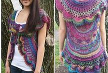 crochet ponchos, vests and jackets / free #crochet patterns for that hippy look.
