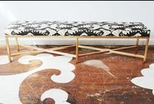 Co-Lab. metal benches & ottomans / Built custom in any size, textile or metal finish.