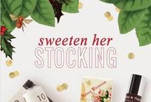 Sweeten Her Stocking / Filled to the brim with unexpected Holiday delights. Find something sweet for every stocking. Shea butter lotions, lip balm, fine hand soaps, & more make for the perfect gift.