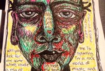 Art from my head / Art made by me, doodles, drawings, paintings, mixed art, lettering art and so on.