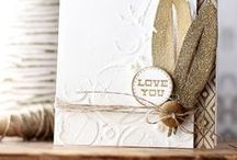 Cards / I love Handmade cards with layers, texture, beautiful papers, intricate embellishment clusters, 3d flowers, simple greetings and white space.