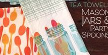 Tea Towels and Lovely Dishware / Kitchen decor to delight from colorful tea towels to pretty dishes! I love kitchen accessories!