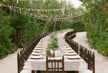   long guest tables   / Ideas for decorating long wedding tables.