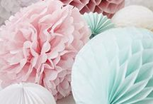   paper pom poms at weddings   / We love paper pom poms for wedding decorations. We especially love them in pastel shades. Mint green, blush pink, baby blue and white too. If you like our inspiration board pop along to our shop to see the pastel coloured paper pom poms available http://www.theweddingofmydreams.co.uk/collections/pom-poms