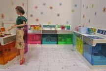 """Barbie Kitchens and Dining Rooms / 1:6th Scale Kitchens and Dining Rooms for Blythe, Barbie, Fashion Royalty, Integrity, Silkstone, 10-12"""" Dolls, etc.  / by Ronda"""