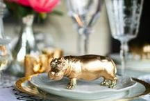 Labola loves  Gold Animals / This trend of painting plastic animal and using them as guest name stands, cake toppers and setting plan decor is really in. Its a great way to add a gold accent piece to your table, without it being blingy… Follow us @ Labola.co.za to keep up with all the tips and trends.