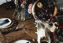 Dinner Party Ideas / Stylish, edgy dinner party table settings inspired, in part, by my Day of the Dead board. Dispense with the usual and try something a bit different. / by Yasemin Richie