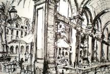 BCN por J. Bueno / Algunos de los dibujos del pintor callejero de Barcelona.