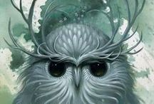 Owls and other feathered friends who inspire characters / by Marsha A. Moore