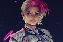 Character Design / Mostly illustrations and concept art of female sci-fi and fantasy heroes: pure humans, augmented warriors, cyborg assassins, sophisticated battle suits etc.