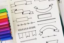Banner & Trennlinien / How to draw Banner, Trennlienien, Divider und kleine nützliche Dinge beim Planen und Organisieren