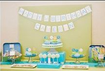 Modern Alphabet Party / A modern 1st birthday party inspired by the alphabet. We designed a dessert table inspired by the letter 'C' for little Cameron. The candies and desserts included Cars, Cupcakes, Cookies. The color palette included green, blue and orange. This party is featured on Pizzazzerie! Vendors Planning & Styling: Miriam Corona Events Printables & Styling: Papermints