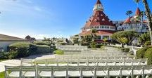 Hotel Del Coronado / Whether you are looking for an elegant lawn wedding or glistening beach wedding, the iconic Hotel Del Coronado has it all.  Located in Coronado, CA, this lovely seaside hotel features blossoming gardens and grand ballrooms to suit whatever vision you have!