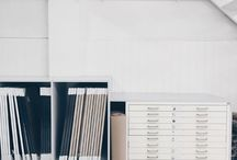 creative people & spaces / clear and white workspaces to make colorful art