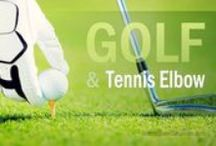 Golf Injuries / Golf-related injuries, especially Golfer's Elbow and Tennis Elbow.