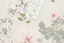 moodboard pure zen / Simple floral drawings, tranquility, soft color palette, burgundy, grey, pale pink, jade, zen mood, relaxed, feminine, elegant
