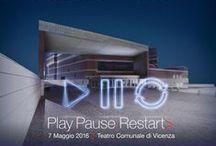 TEDxVicenza 2016 / TEDxVicenza / Play.Pause.Restart>  7 maggio / Teatro Comunale di Vicenza   Play.Pause.Restart pone al centro dell'attenzione la necessità di un costante rinnovamento. Per innovare ci vuole l'audacia di esporsi al rischio, mettersi alla prova utilizzando un pizzico di improvvisazione.