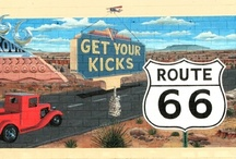 Route 66  / Get your kicks on route 66. It winds from Chicago to L A. More than two thousand miles all the way. You go through Saint Louis, Joplin, Missouri. Oklahoma City and Tulsa is mighty pretty. You see Amarillo, Gallup, New Mexico, Flagstaff, Arizona. Don't forget Winona, Kingman, Barstow, San Bernardino in California. / by Tresa Horner