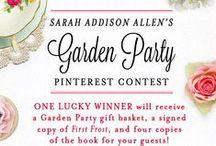 A First Frost Garden Party / [Contest now closed!  Congrats to Angie Waldrop: www.pinterest.com/angieljw/first-frost-garden-party/ for winning!] Create a Garden Party board on Pinterest with covers of FIRST FROST and GARDEN SPELLS for a chance to win a fabulous garden party gift basket and five copies of FIRST FROST for you and your friends!